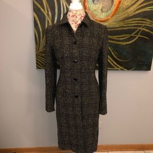 LOFT Long Tweed Blazer Black and Cream